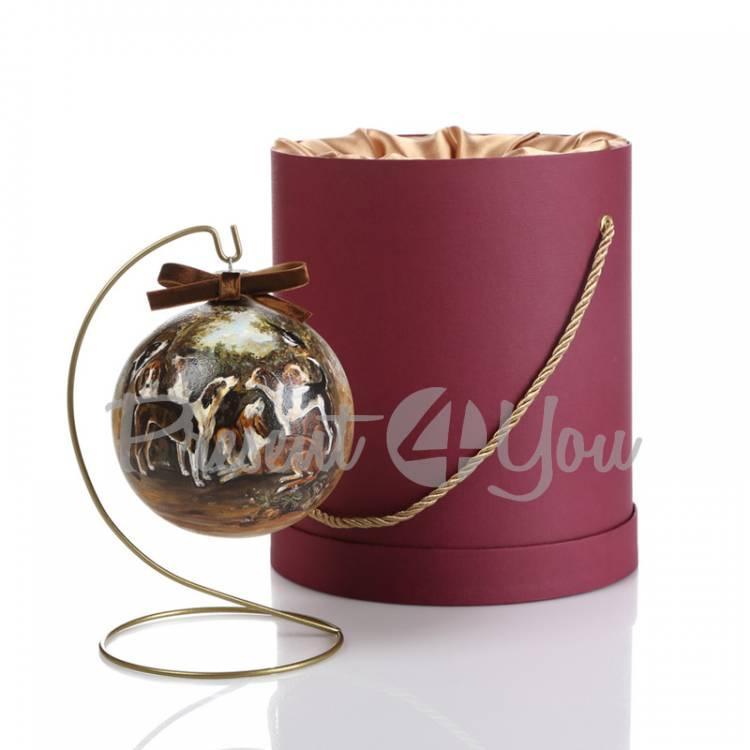 Новогодний шар ручной росписи в подарочной коробке «Охотничьи собаки», d-12 см (905-0015)