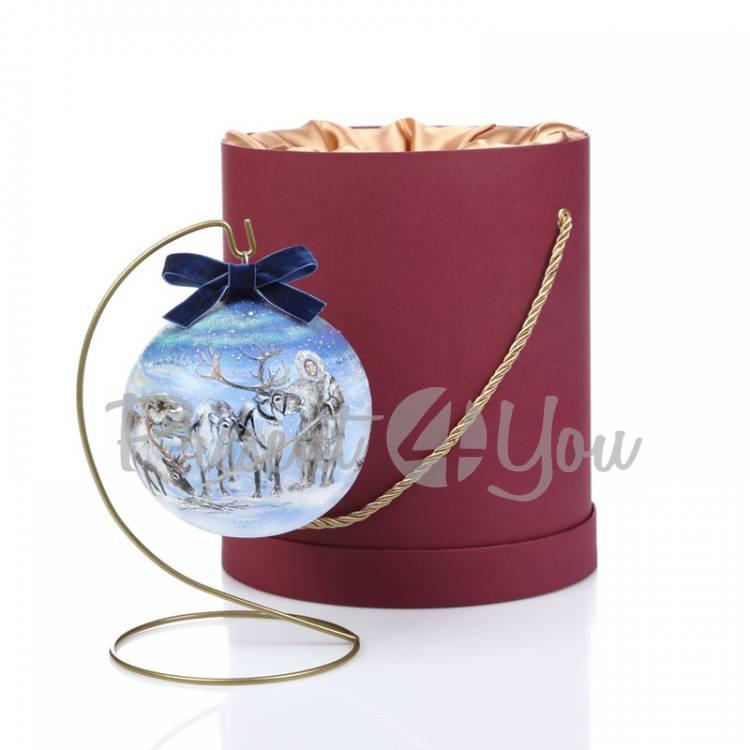 Новогодний шар ручной росписи в подарочной коробке «Олени», d-12 см (905-0007)