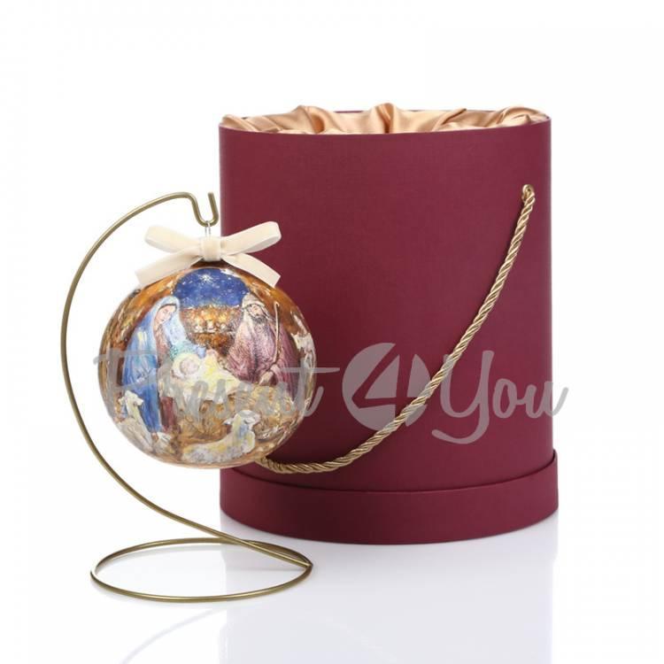 Новогодний шар ручной росписи в подарочной коробке «Рождество», d-12 см (905-0009)