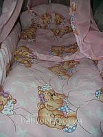 Постельный комплект 3 эл. Розовый Мишки на лестнице, Мишки спят, мишки со звездой , фото 1