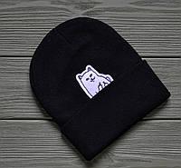 Шапка черная с отворотом молодежная прикольная Кот с факом от RipNdip РипНдип