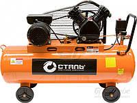 Компрессор ременной 2- х поршневой 400 л/мин Сталь для СТО, шиномонтажа, покраски авто, пневмоинструмента