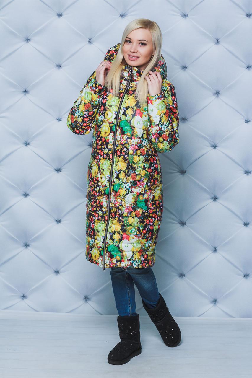 Пальто женское зимнее Цветы