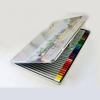 """Карандаши цветные акварельные """"Raffine"""" с кистью Marco в мет. пенале 7120-36TN 36цв. для начинающих художников"""