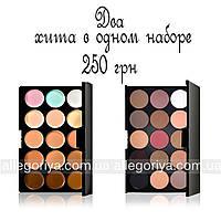 Корректоры консилеры Mac Cosmetics 15 оттенков + Тени для макияжа 15 штук цветов Mac реплика