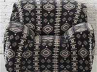 Чехол на кресло HomyTex универсальный эластичный замша, Черный ромб 1шт.