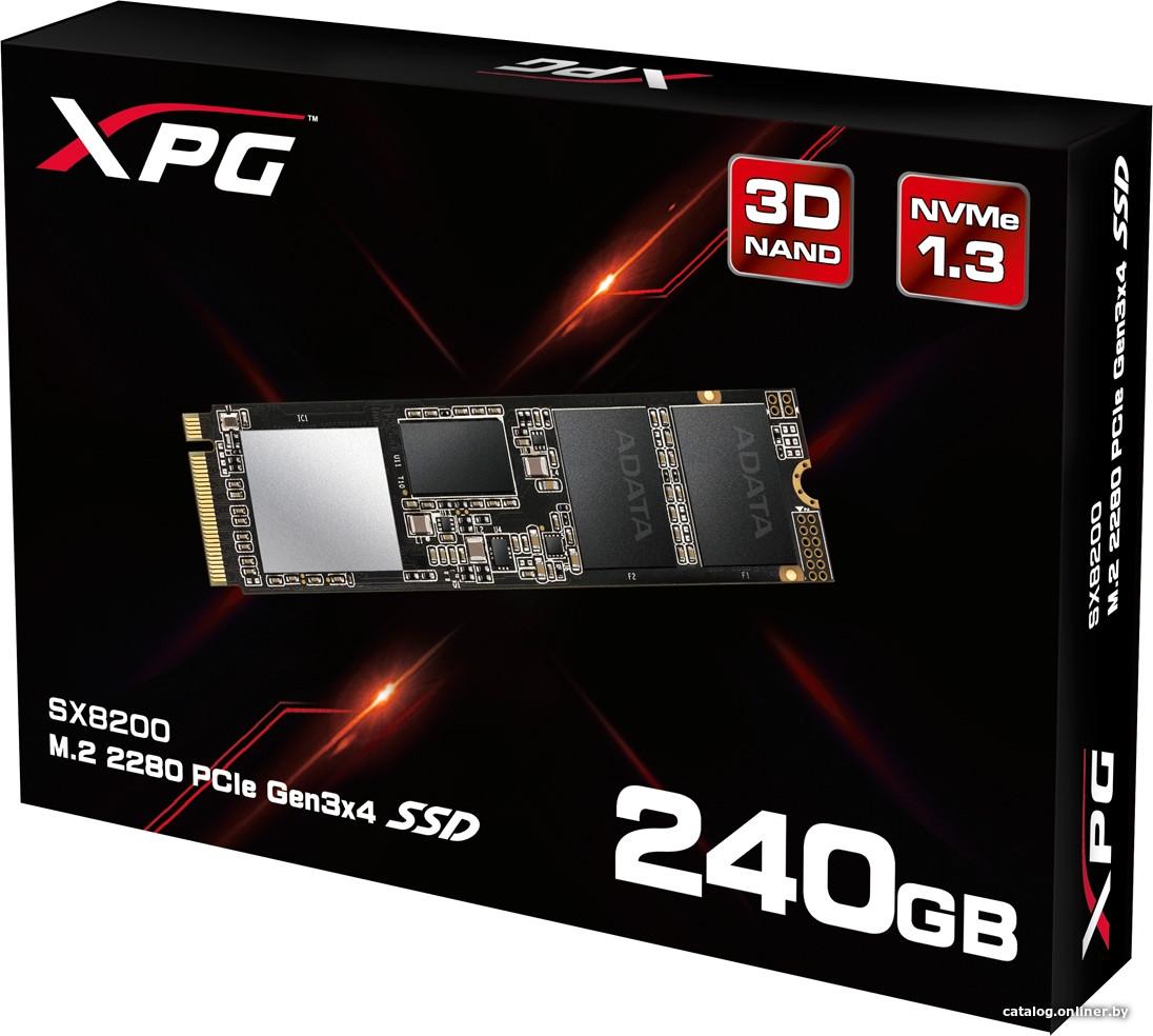 "SSD ADATA XPG SX8200 240GB M.2 2280 PCIe Gen3x4 2nd Gen 64 layers 3D TLC (ASX8200NP-240GT-C) ""Over-Stock"" Б/У"
