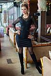 Вишукана мереживна чорне плаття, фото 4