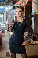 Изысканное кружевное чёрное платье, фото 1