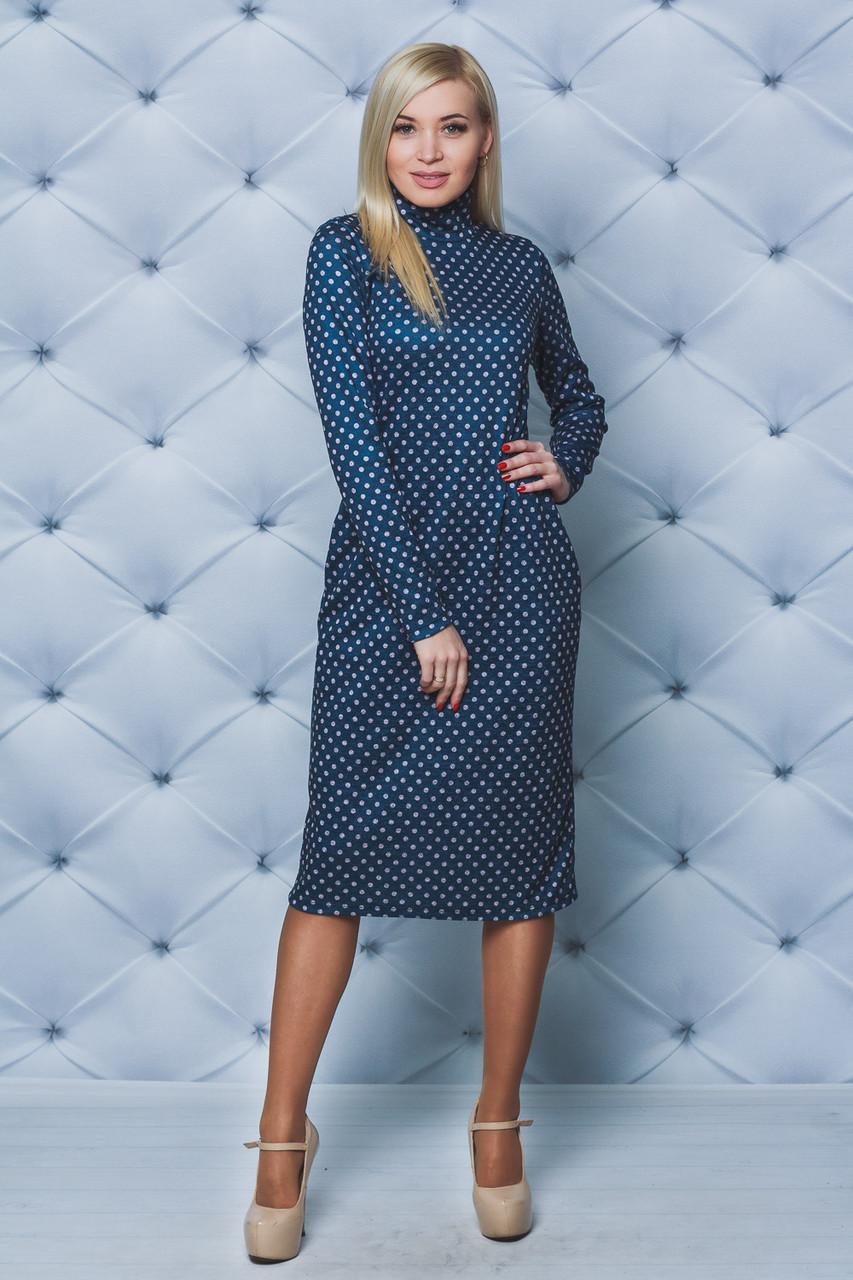 Трикотажное женское платье-футляр Горох