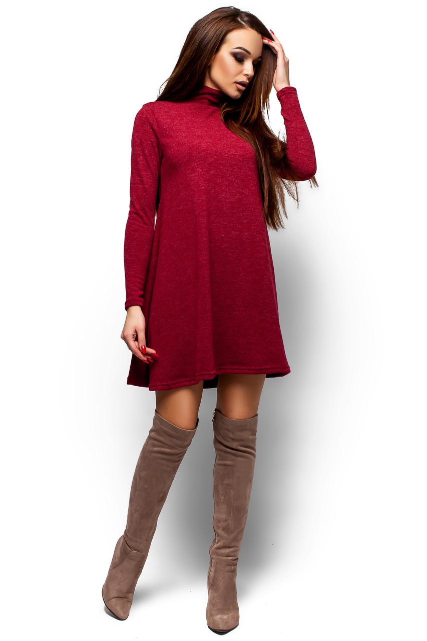 Тёплое бордовое платье