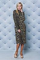 Трикотажное женское платье-футляр Леопард