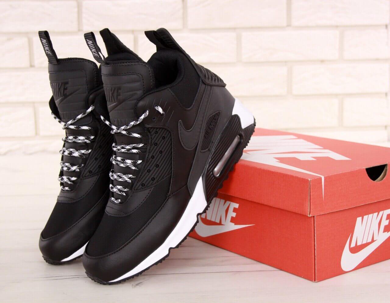 Мужские зимние термо кроссовки Air Max 90 Sneakerboot Winter Black