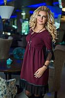Женственное бордовое платье  снизу с сеточкой