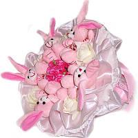 Букет из мягких игрушек Зайки розовые 5, фото 1