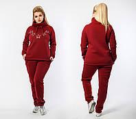 Теплый спортивный костюм женский Трехнитка на флисе Размер 48 50 52 54 56 58 60 62 64 В наличии 4 цвета, фото 1