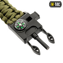 M-Tac браслет паракорд с искровысекателем, компасом и свистком олива, фото 3