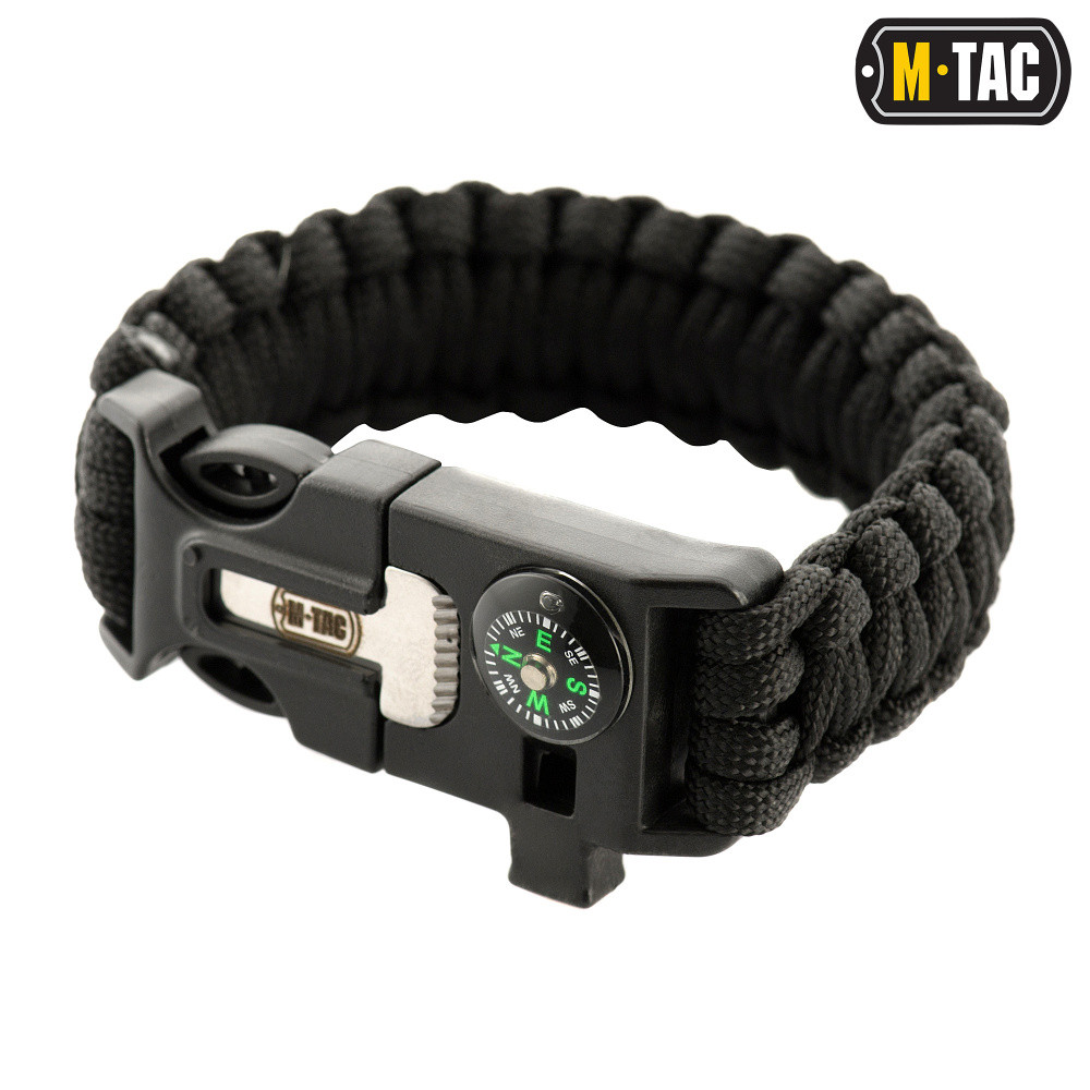M-Tac браслет паракорд с искровысекателем, компасом и свистком черный