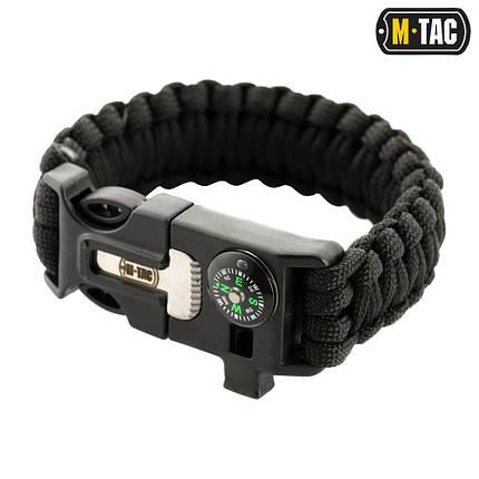 M-Tac браслет паракорд с искровысекателем, компасом и свистком черный, фото 2
