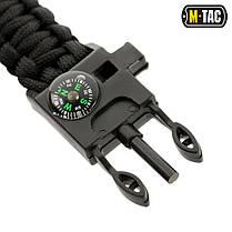 M-Tac браслет паракорд с искровысекателем, компасом и свистком черный, фото 3