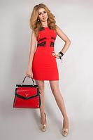 Красивое красное платье с черными вставками