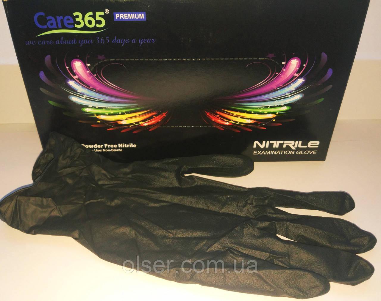 Перчатки нитриловые неопудренные CARE 365 PREMIUM, черные