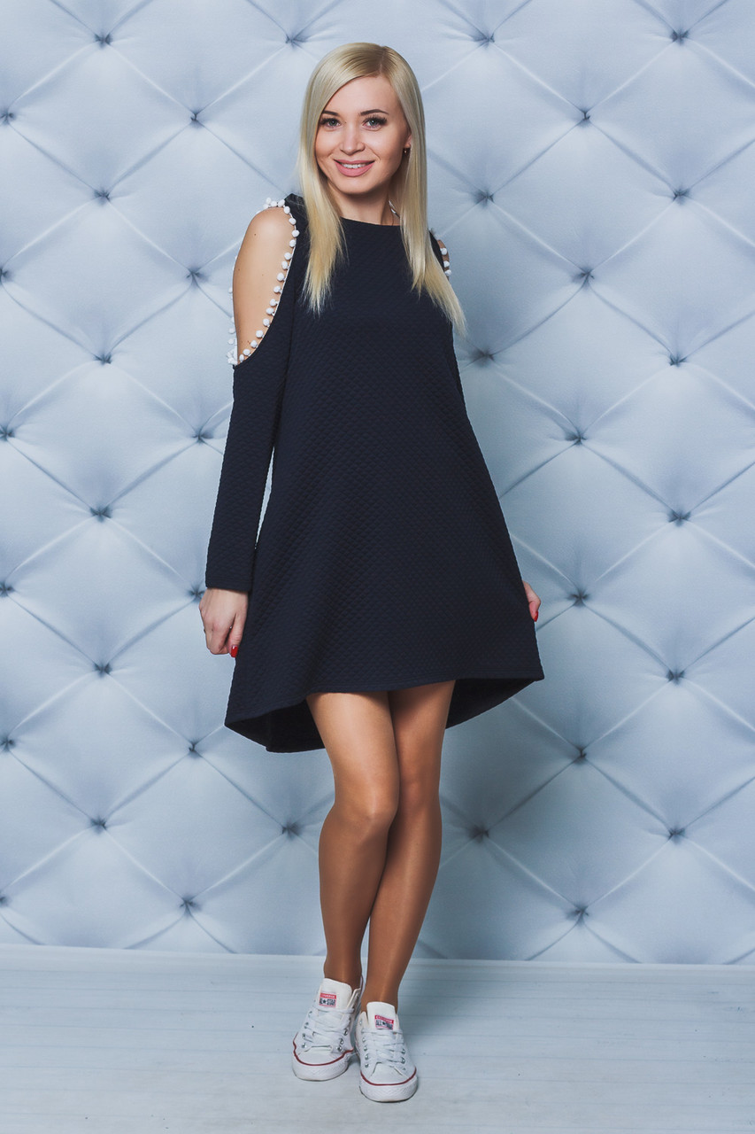 Платье женское с бубонами темно-синее