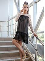 Платье casual с сеткой, платье женское свободного кроя черного цвета, платье эффектное молодежное нарядное, фото 1