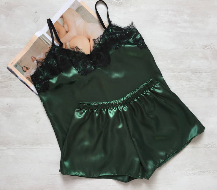Женская атласная пижама зеленый 02