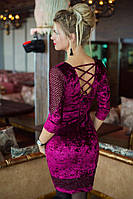 Велюровое  платье марсала со шнуровкой на спине