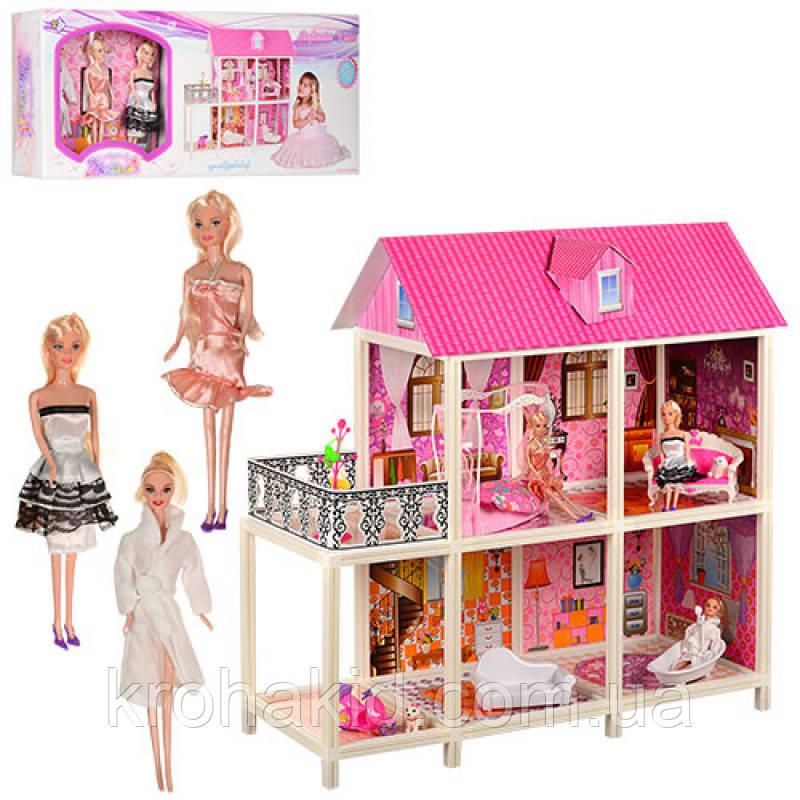 Двухэтажный кукольный домик 66884( З шт куклы 28 см, мебель),размер домика 101,5-41-105 см
