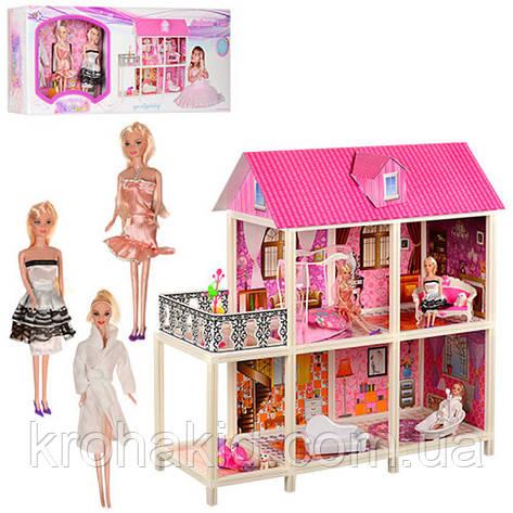 Двухэтажный кукольный домик 66884( З шт куклы 28 см, мебель),размер домика 101,5-41-105 см , фото 2