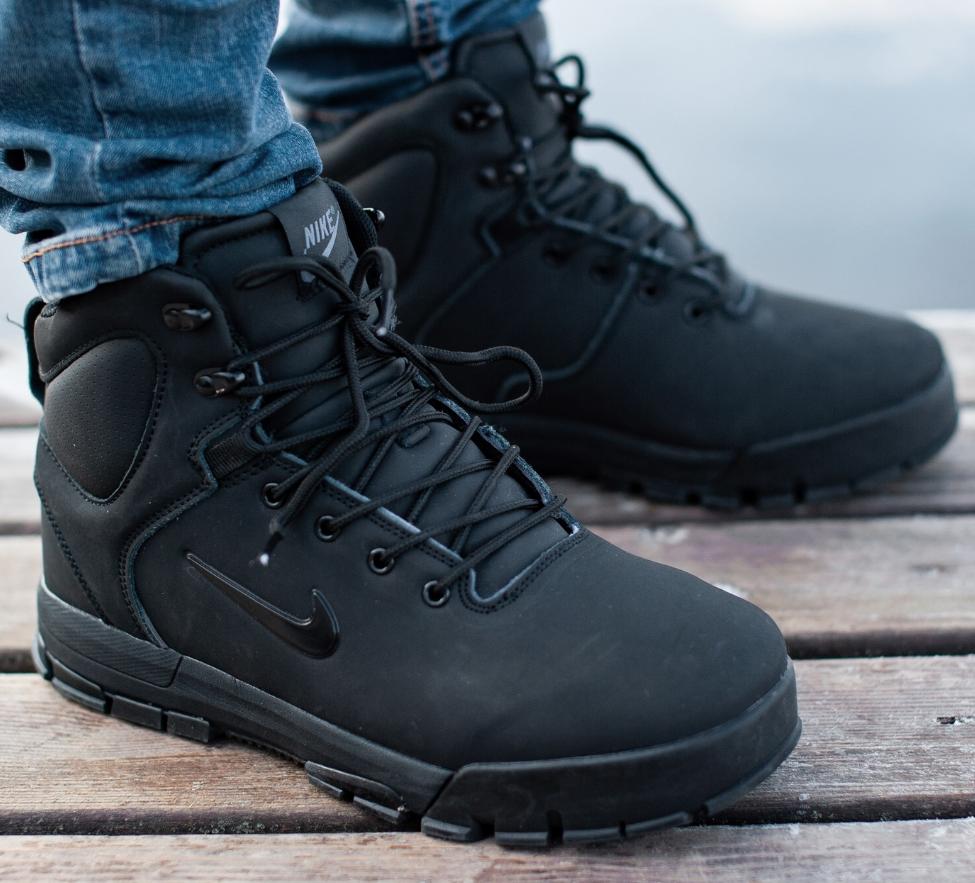 Кроссовки Мужские Зимние Nike Air Nevist-6  Black, найк аир невист чёрные