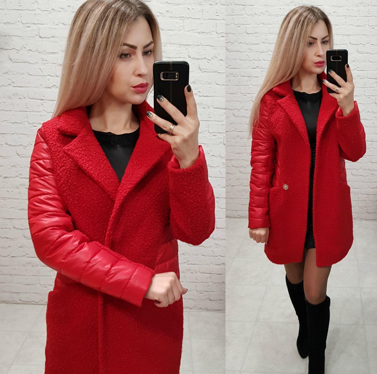 Пальто женское, букле, модель 821, цвет - красный