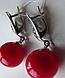 Серебряные серьги - подвески с красным кораллом, фото 2