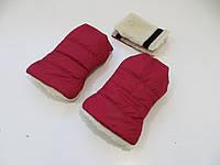 Раздельная муфта темно-красный /овчина, фото 1