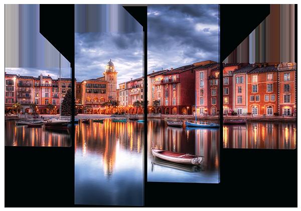 Модульная картина Interno Холст Город на воде 166x114см (R254XL)