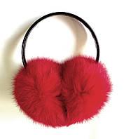 Меховые наушники кролик, красного цвета