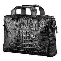 Сумка для ноутбука CROCODILE LEATHER 18022 из натуральной кожи крокодила Черная, Черный
