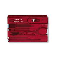 Victorinox Викторинокс набор инструментов Swisscard 10 предметов 82 Х 54 Х 4 мм красный прозрачный