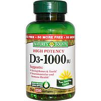 Витамин Д3 (Vitamin D3), Nature's Bounty, 1000 МЕ, 250 капсул