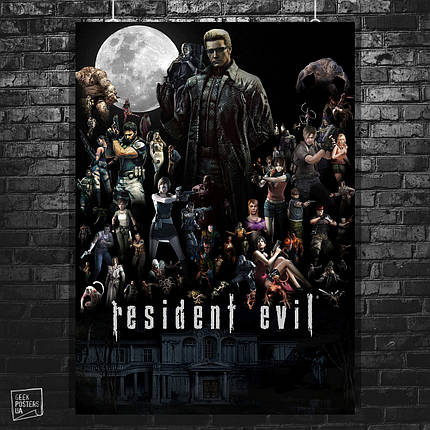Постер Resident Evil, Обитель зла, все персонажи игры. Размер 60x42см (A2). Глянцевая бумага, фото 2