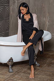 Женская шелковая пижама брюки+топ черного цвета