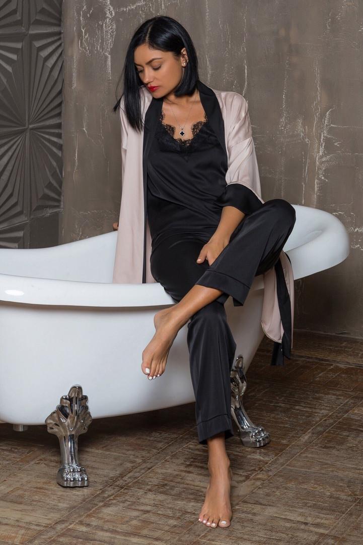 fee8ef0f469e819 Женская шелковая пижама брюки+топ черного цвета: продажа, цена в ...