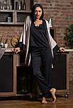 Женская шелковая пижама брюки+топ черного цвета, фото 2