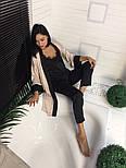Женская шелковая пижама брюки+топ черного цвета, фото 3