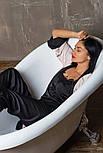 Женская шелковая пижама брюки+топ черного цвета, фото 4