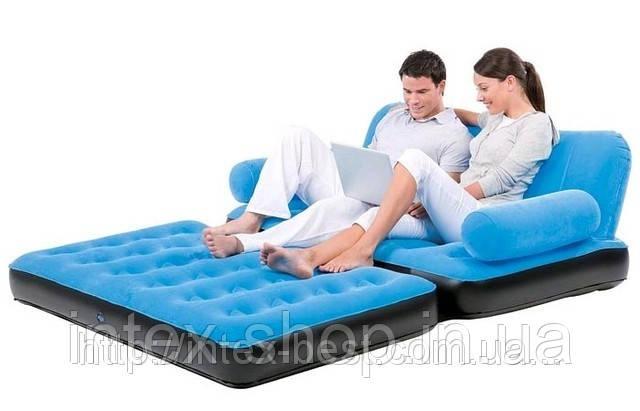 BestWay 67356-1 Comfort (Air-O-Space) Надувной диван-трансформер 5в1 (188x152x64) + насос 220V. Велюр. (Синий)
