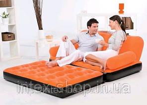 BestWay 67356-1 Comfort (Air-O-Space) Надувной диван-трансформер 5в1 (188x152x64) + насос 220V. Велюр. (Синий), фото 2