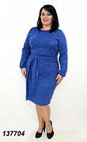 Платье красивое на выход, ткань ангора меланж, повседневное батальное платье. Размеры 48, 50, 52, 54, 56.